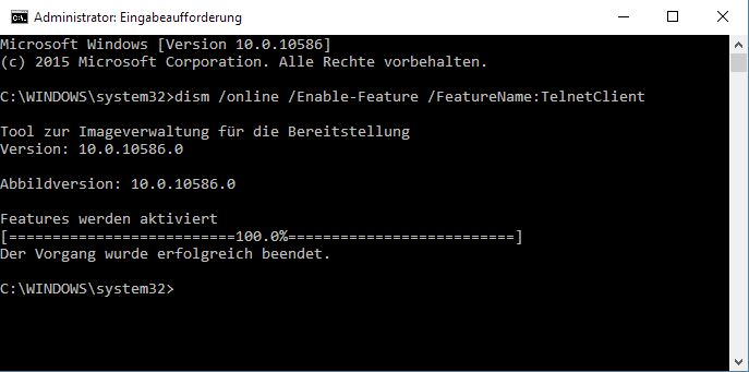 Telnet unte Windows 10 einrichten
