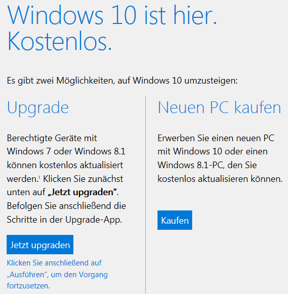Windows 10 Upgrade Manuel anstoßen