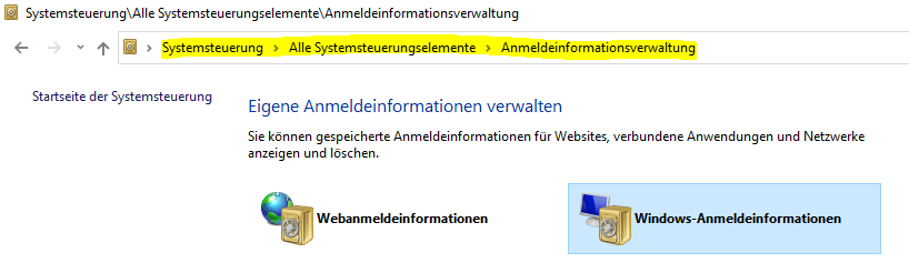 Anmeldeinformationsverwaltung in Windows 10